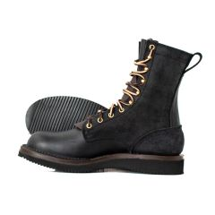 Hooligan Moto Boot Black Wedge Moderate Arch - STOCK - FREE SHIPPING