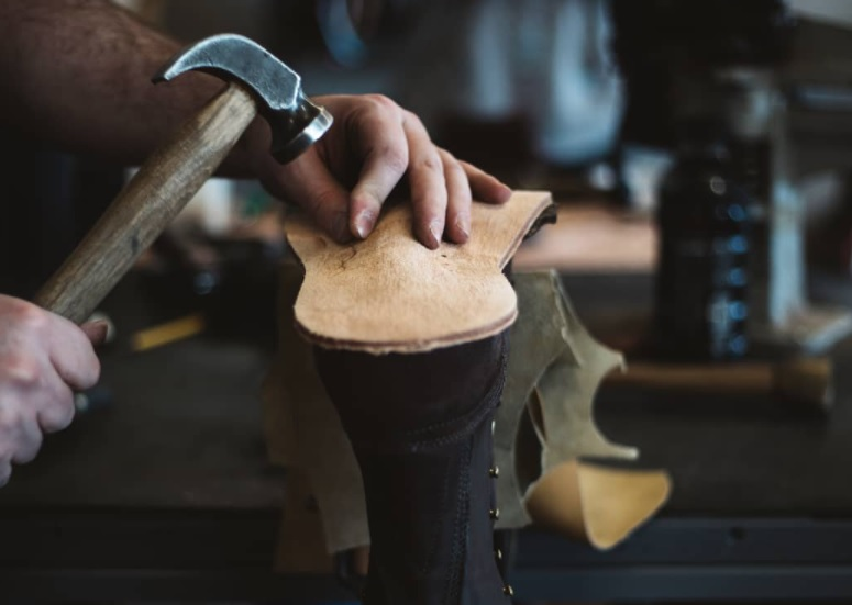 custom leather wedge sole boots