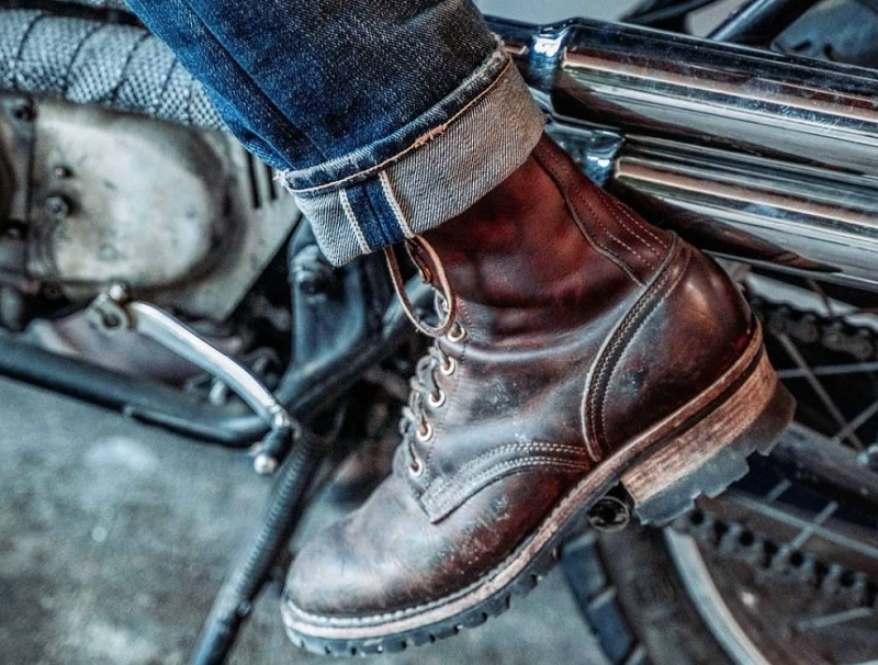 motorcycle boots being used